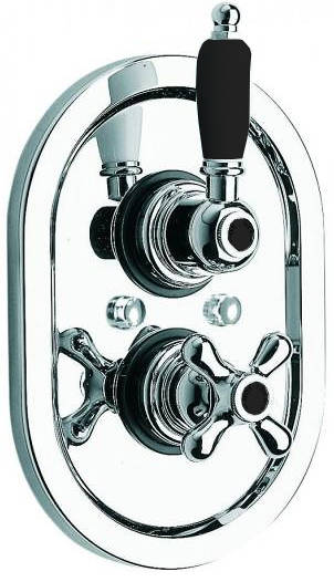 "Additional image for Thermostatic Shower Valve (Chrome & Black, 3/4"")."