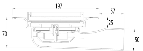 Additional image for Shower Drain With Horizontal Outlet 197mm (Polypropylane).