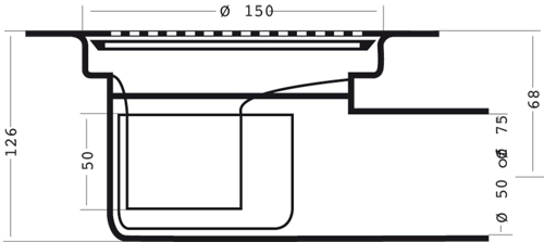 Additional image for Shower Drain With 50mm Horizontal Outlet (150mm, PEH).