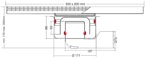 Additional image for Kitchen Channel Drain 500x200mm (Mesh Grating).