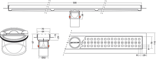 Additional image for Premium Line Shower Channel 500x70mm.