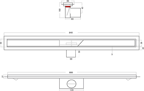 Additional image for Shower Tile Channel 800x50mm (Stainless Steel).