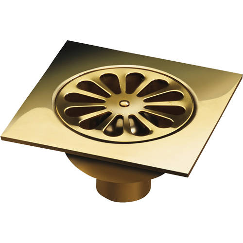 Additional image for Shower Drain 150x150mm (Polished Brass).