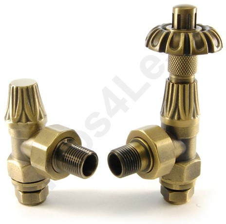Additional image for Thermostatic Angled Radiator Valves (O Brass).
