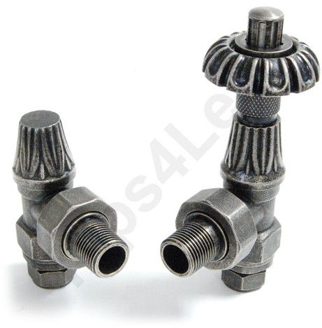 Additional image for Thermostatic Angled Radiator Valves (Pewter).