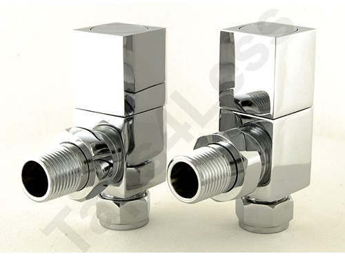 Additional image for Cubex Angled Radiator Valves (Chrome).