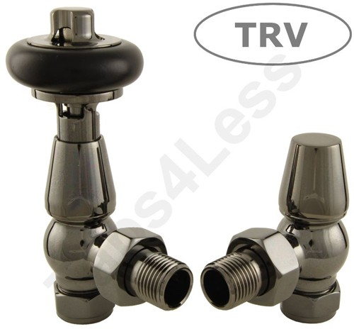 Additional image for Thermostatic Angled Radiator Valves (B Nickel).