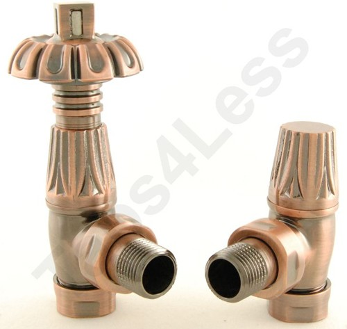 Additional image for Thermostatic Angled Radiator Valves (A Copper).