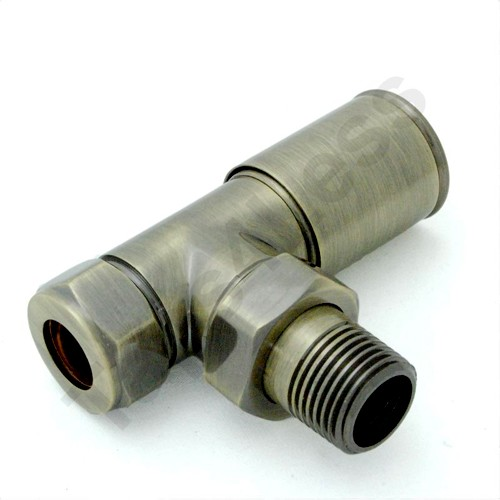 Additional image for Milan Angled Radiator Valves (Antique Brass).