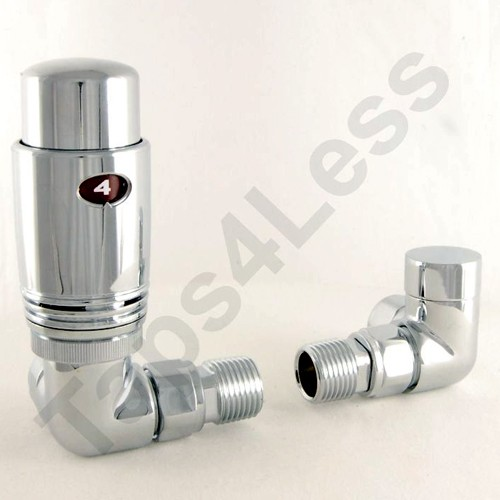 Additional image for Thermostatic Corner Radiator Valves (Chrome).