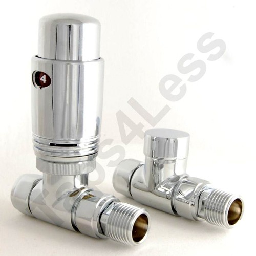 Additional image for Thermostatic Straight Radiator Valves (Chrome).