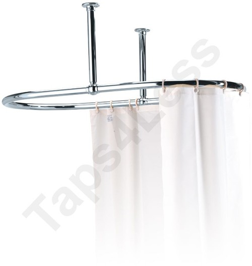 Additional image for Oval Shower Curtain Rail With 2 x Ceiling Brackets (Chrome).