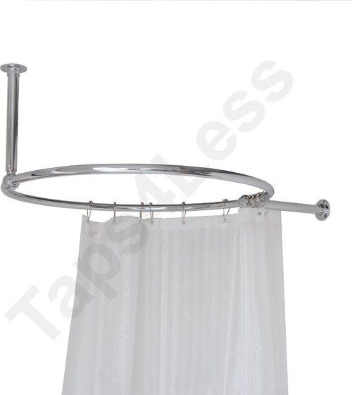 Additional image for Round Shower Curtain Rail With Wall & Ceiling Brackets.