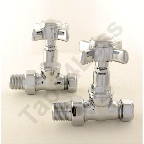 Additional image for Westminster Straight Radiator Valves (Chrome).