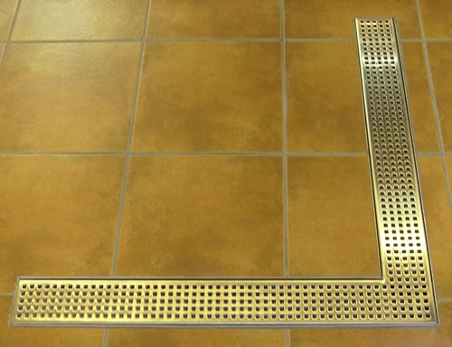 Additional image for Wetroom Corner Shower Drain With Bottom Outlet. 1000mm.