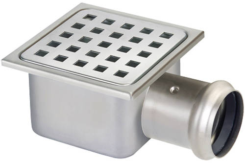 Additional image for Square Plastic Shower Gully With Side Outlet (105x105).