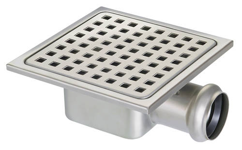 Square Plastic Shower Gully With Side Outlet 150x150