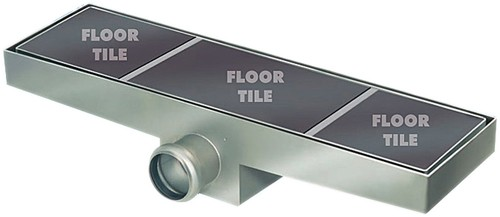 Additional image for Stainless Steel Wetroom Tile Channel With Side Outlet. 1020mm.